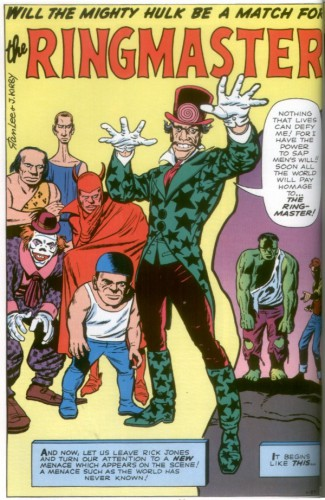 The Clown (à gauche, le personnage central est The Ringmaster), Incredible Hulk #3, September 1962