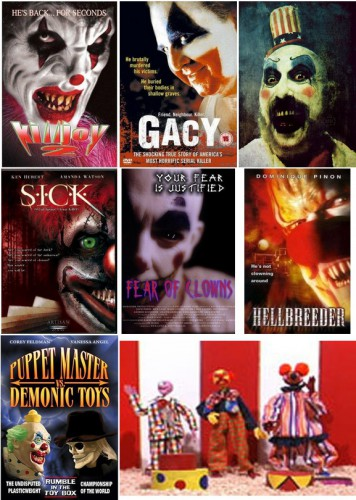 Killjoy 2 - Deliverance from Evil (Tammi Sutton, 2002) / Gacy (Clive Saunders, 2003) / [Captain Spaulding] House of 1000 Corpses (2003) et The Devil's Rejects (2005) de Rob Zombie / S.I.C.K. Serial Insane Clown Killer (Bob Willems, 2003) / Fear of Clowns (Kevin Kangas, 2004) / Hellbreeder (James Eaves & Johannes Roberts, 2004) / Puppet Master vs Demonic Toys (Ted Nicolaou, 2004) / Feast of Fools (Robert Kleinschmidt & Tracey Waaka, 2004)