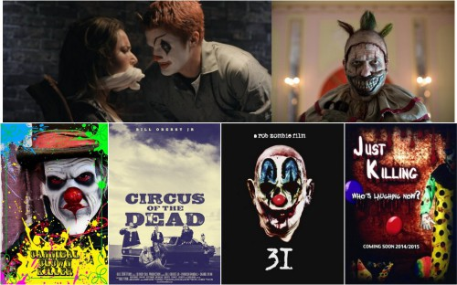 Lullaby (Clifford Duvernois, 2014) / American Horror Story: Freak Show (FX Série, 2014) / Cannibal Clown Killer (Patrick Andrew Higgins, 2014) / Circus of the Dead (Billy 'Bloody Bill' Pon, 2014) / 31 (Rob Zombie, 2015) / Just Killing (Shalaan Powell, 2015)