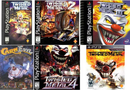 Twisted Metal (Sony Interactive Studios America & SingleTrac, November 5, 1995) / Twisted Metal 2 (Sony Interactive Studios America & SingleTrac, October 31, 1996) / Twisted Metal III (Sony Computer Entertainment & 989 Studios, October 31, 1998) / CarnEvil (Midway Games, October 31, 1998) / Twisted Metal 4 (Sony Computer Entertainment & 989 Studios, October 31, 1999) / Twisted Metal (Sony Computer Entertainment & Eat Sleep Play, reboot sur PlayStation 3, February 14, 2012)