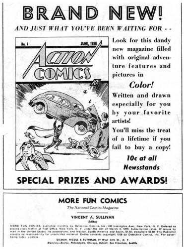Publicité pour Action Comics #1 parue dans More Fun Comics #31, May 1938
