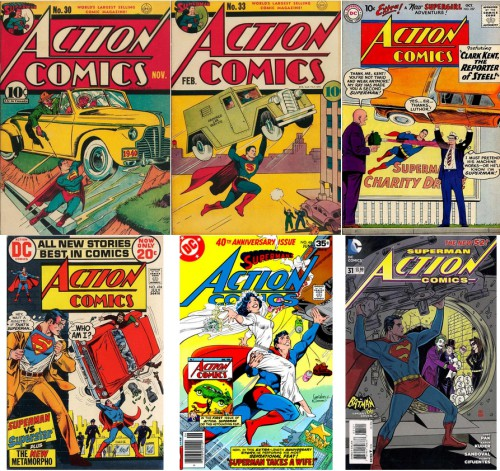 Action Comics #30, November 1940 / Action Comics #33, February 1941 / Action Comics #257, October 1959 / Action Comics #414, July 1972 / Action Comics #484, June 1978 / Action Comics #31 (2011 Series), July 2014