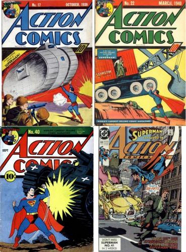 Action Comics #17, October 1939 / Action Comics #22, March 1940 / Action Comics #40, September 1941 / Action Comics #650, Art by George Pérez, February 1990