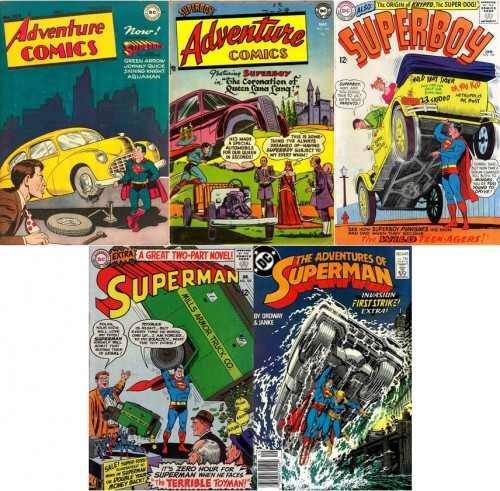 Adventure Comics #103, April 1946 / Adventure Comics #192, September 1953 / Superboy #126, January 1966 / Superman #182, January 1966 / The Adventures of Superman #449, December 1988
