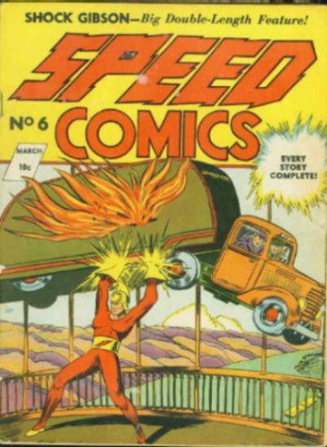 Speed Comics #6, Shock Gibson, The Human Dynamo, March 1940