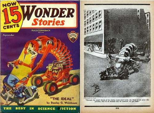 Wonder Stories, September 1935, Cover and page 416, Art by Frank R. Paul