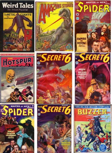 Weird Tales, December 1926 / Amazing Stories v3 #11, February 1929 / The Spider v2 #1, February 1934 / The Hotspur #48 [UK], July 28, 1934 / The Secret Six v1#1, October 1934 / The Secret Six v1#2, November 1934 / The Spider v4 #2, November 1934 / The Secret Six v1#3, December 1934 / Buzzer #18, February 12 1938