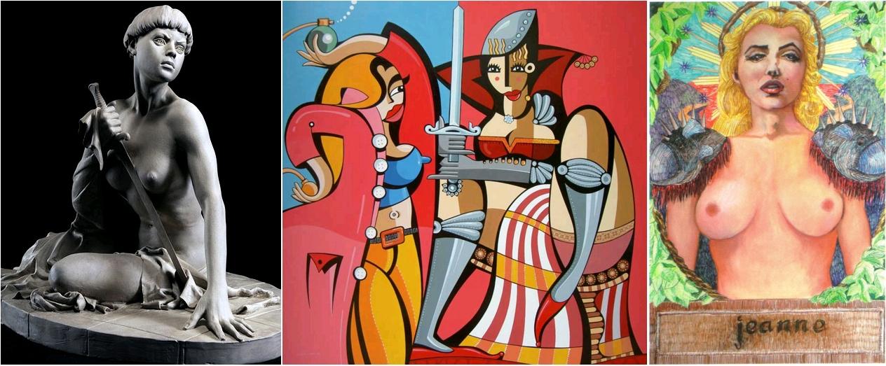 Joan of Arc, by Philippe Faraut sculpteur, 2009 / Jeanne d'Arc, par Alfredo Lopez, circa 2012 / Jeanne, par Charlotte Vitaioli, pastel, 2012 [confrontation de deux icônes, Jeanne d'Arc et Marilyn]
