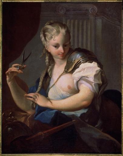 Jeanne d'Arc coupant sa natte avec des ciseaux, par Charles-André Van Loo, entre 1705 et 1765, collection particulière