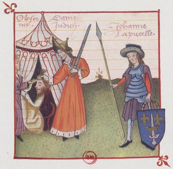 Jeanne d'Arc comparée à Judith, miniature tirée du Champion des Dames de Martial Le Franc, manuscrit exécuté à Arras en 1440, Gallica-BnF [voir Philippe Contamine, op. cit. p.322 sq]