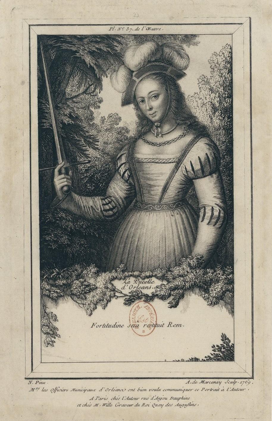 Portrait de Jeanne d'Arc gravé par Noël Le Mire, 1774, inspiré du tableau des échevins d'Orléans, Gallica-BnF