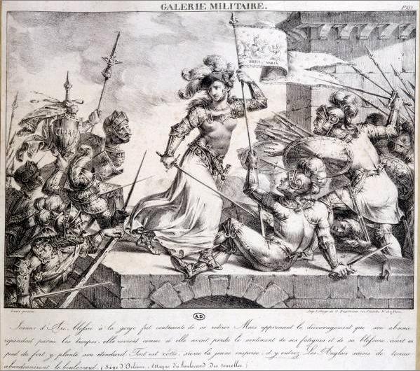 Galerie militaire. Siège d'Orléans, Jeanne d'Arc blessée à la gorge fut contrainte de se retirer [...], circa 1850