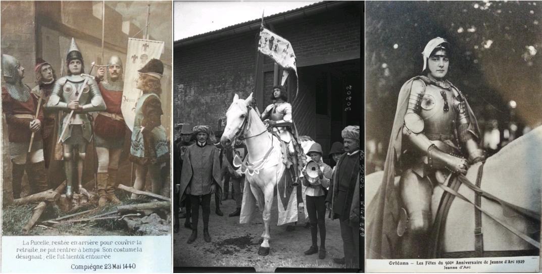 Compiègne 23 mai 1440, La Pucelle restée en arrière pour couvrir la retraite..., circa 1910, carte postale, Centre Jeanne d'Arc d'Orléans / Compiègne, fêtes de Jeanne d'Arc, Jeanne d'Arc à cheval, photographie de presse, Agence Rol, 1913, Gallica-BnF / Orléans - les fêtes du 500e anniversaire de Jeanne d'Arc, 1929