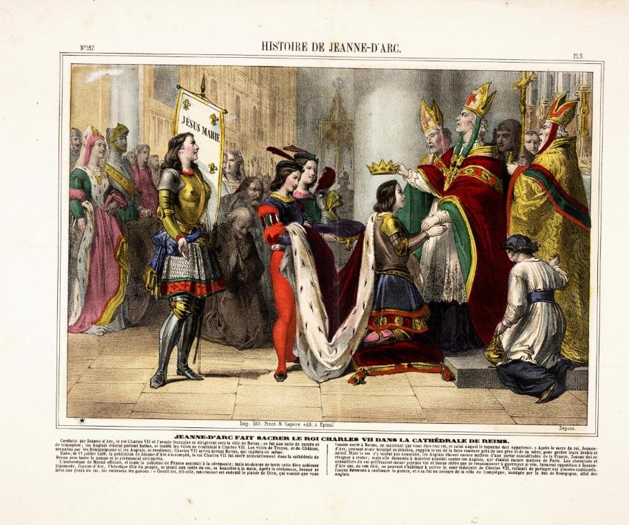 Jeanne d'Arc fait sacrer le roi Charles VII dans la cathédrale de Reims, Image d'Épinal, Pinot & Sagaire, Archives départementales des Vosges