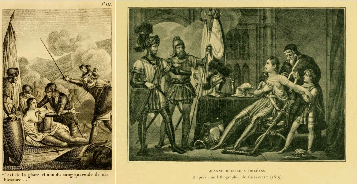 Vie de Jeanne d'Arc surnommée la Pucelle d'Orléans, par M. H. Lemaire, Chez Le Prieur, Libraire, 1818 / Jeanne blessée à Orléans, d'après une lithographie de Chasselat (1819), in Mgr Le Nordez, Jeanne d'Arc racontée par l'image, 1898