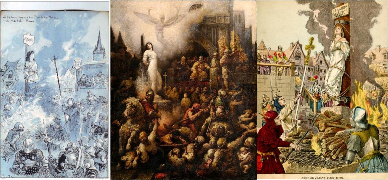 Jeanne d'Arc au bûcher, par Albert Robida, circa 1900 / Jeanne d'Arc, par François Chifflart, circa 1901, Düsseldorfer Auktionshaus / Mort de Jeanne d'Arc, Histoire de France, illustrations de Grobet, 1902