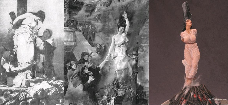 Autodafé d'une hérétique, gravure probablement originaire d'Espagne, circa 1850 / Hexenschlaf [Le sommeil de la sorcière], d'après Albert von Keller, circa 1889 / Burn Witch Burn, par Cody's Coop, producteur de figurines], 2016