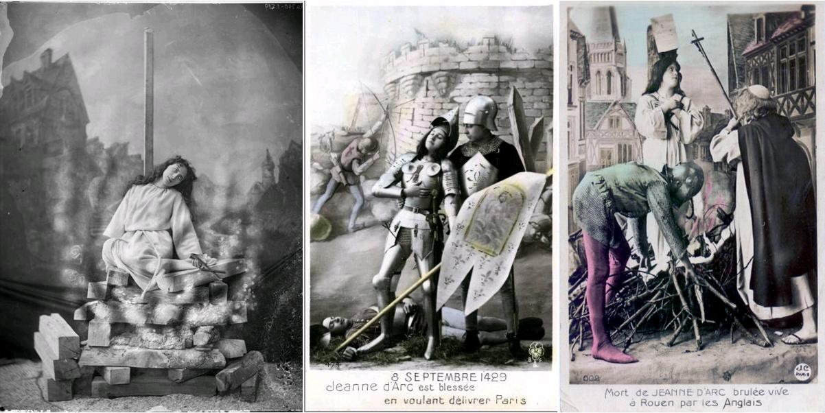 Eugénie Segond-Weber, dans le drame 'Jeanne d'Arc', Atelier Nadar, circa 1900, base Mistral - Ministère de la Culture / Jeanne d'Arc est blessée en voulant délivrer Paris, carte postale, circa 1910 / Mort de Jeanne d'Arc brûlée vive à Rouen par les Anglais, carte postale, JC Paris, 602, circa 1910