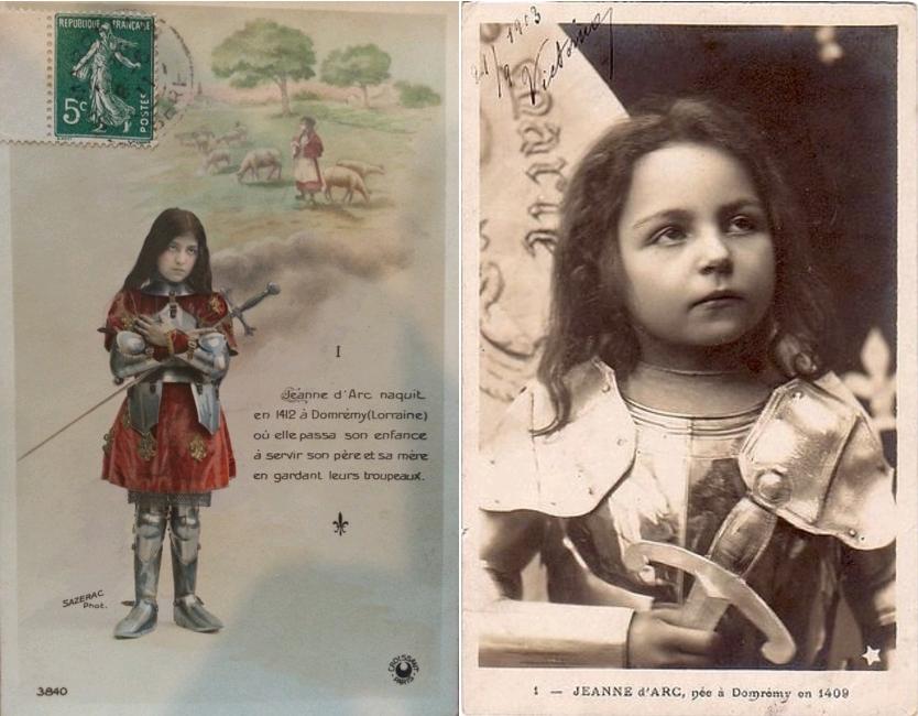 Enfance de Jeanne d'Arc, circa 1910, carte postale, Centre Jeanne d'Arc d'Orléans / Jeanne d'Arc, née à Domrémy en 1409, carte postale datée 1913