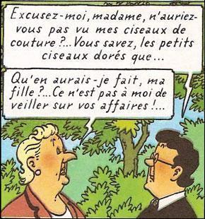 Bianca Castafiore et Irma (dialogue), Les Bijoux de la Castafiore, page 25 [extrait]. Copyright © Hergé / Moulinsart