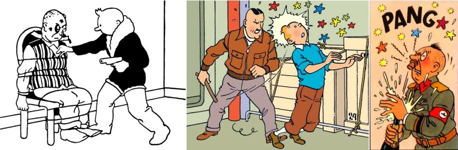 Boustringovitch, Tintin au pays des Soviets, page 135 / le colonel Boris, On a marché sur la Lune, page 39 / le colonel Sponsz, L'Affaire Tournesol, page 55 [extraits]. Copyright © Hergé / Moulinsart