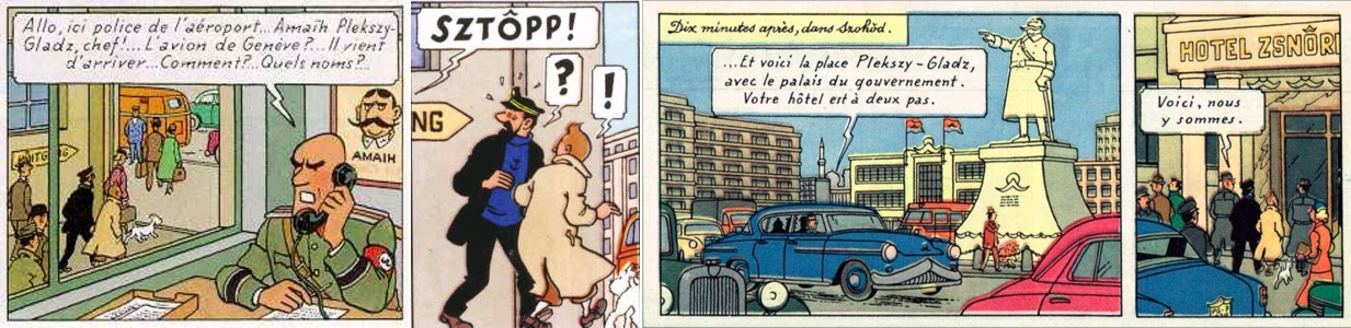 La moustache de Plekszy-Gladz partout, L'Affaire Tournesol, pages 46-47 [extraits]. Copyright © Hergé / Moulinsart