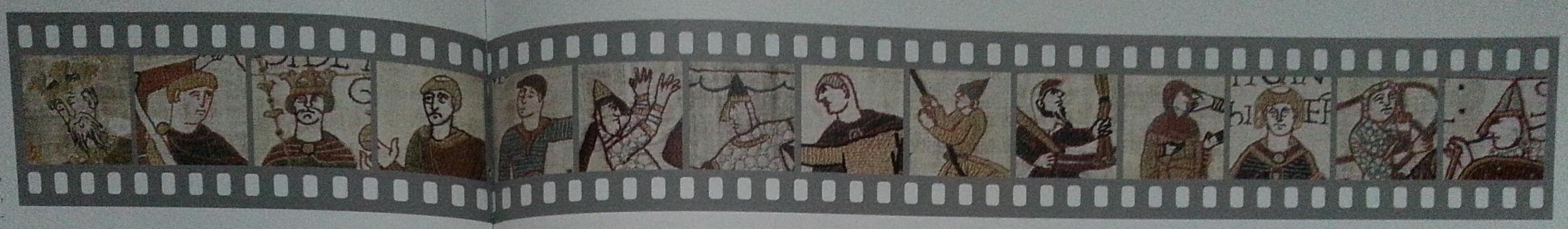 Illustration extraite de l'article La Tapisserie de Bayeux, un dessin qui s'anime sous nos yeux, par Sylvette Lemagnen, in Emakimono et Tapisserie de Bayeux, dessins animés du Moyen Âge - lecture croisée de trésors nationaux japonais et français, op. cit., p. 80-81