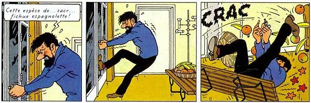 Hergé, Tintin et les Picaros, 1976, page 17[extrait]. Copyright © Hergé / Moulinsart