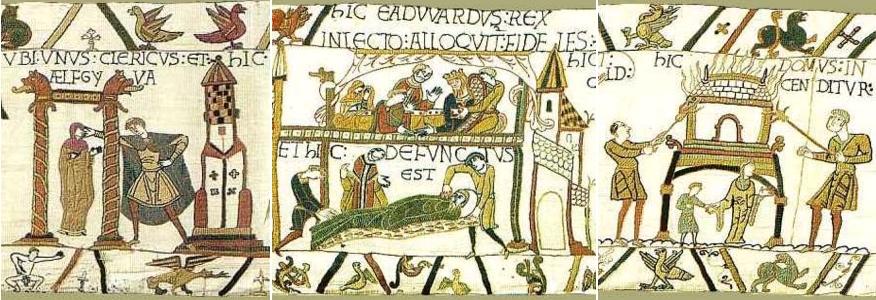 Scène 15 - Ælfgyva et un clerc / Scènes 27-28 - agonie et mort du roi Édouard, sa femme Édith de Wessex figure en haut à gauche / Scène 47 - femme anglaise avec un enfant près de sa maison incendiée. Musées de la ville de Bayeux