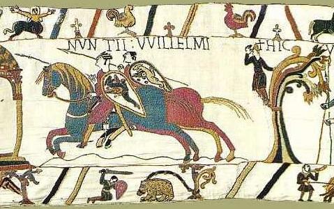 Scène 11 - messagers de Guillaume galopant vers Guy de Ponthieu. Musées de la ville de Bayeux