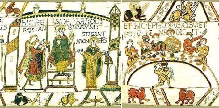 Scène 30 - Harold, cheveux longs et moustache, couronné roi; Stigant à droite / Scène 43 - Odon préside un repas, un homme avec une longue barbe boit dans une coupe. Musées de la ville de Bayeux