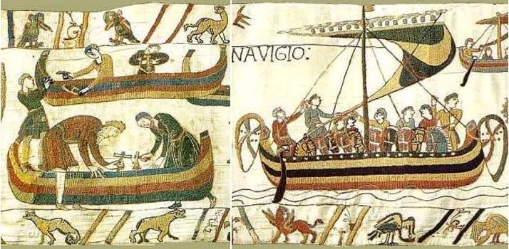 Scène 36 - Deux charpentiers barbus fabriquent un bateau / Scène 38 - Le pilote à barbe blanche du dernier bateau de la flotte d'invasion. Musées de la ville de Bayeux
